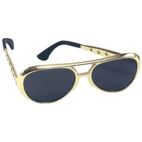 Elvis Sunglasses. Gold (Music , 1970S Fancy Dress Glasses)