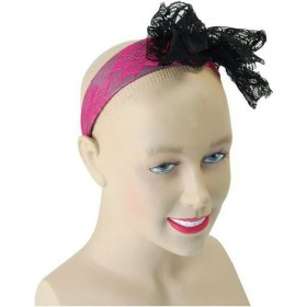 80'S Neon Lace Headband. Pink (1980S Fancy Dress)
