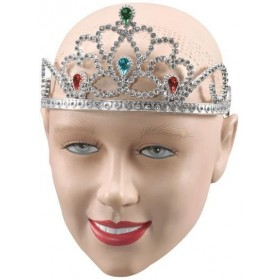 Silver Plastic Tiara/Paint Stones (Royalty , Fairy Tales Fancy Dress Hats)