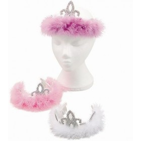 Tiara. Silver Plastic / Marabou (Royalty , Fairy Tales Fancy Dress Hats)