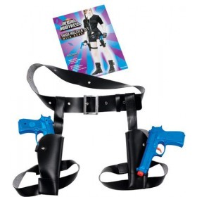 Thigh Twin Holster Set With Guns (Film , Army Fancy Dress Guns)