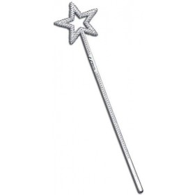 Fairy Wand. Plastic Silver. (Fairy Tales Fancy Dress)