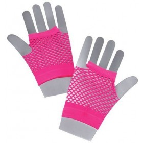 Fishnet Gloves. Short Neon Pink (1980S Fancy Dress Gloves)