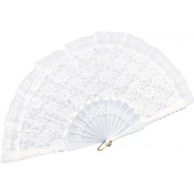 Fan. White Lace (Burlesque , Medieval Fancy Dress)