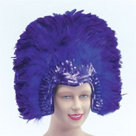 Feather Headdress Purpledeluxe (Burlesque Fancy Dress Hats)