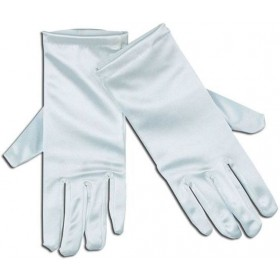 "Gloves. Satin 9"" White (Clowns , Christmas Gloves)"