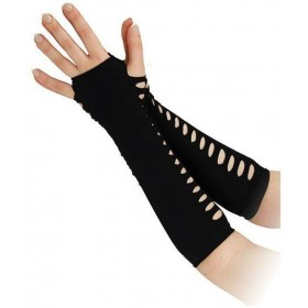 "Gloves. Ladder Style Black 10"" (1980S Fancy Dress Gloves)"