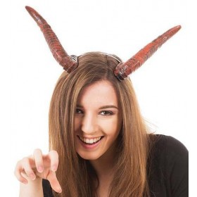 Curved Devil Horns On Headband Halloween Accessory