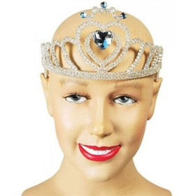 Tiara. White Glitter + Heart Stone (Fairy Tales , Royalty Fancy Dress Hats)