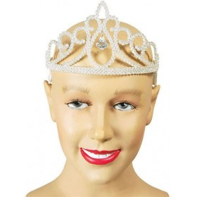 Tiara. White Glitter + Diamond (Royalty , Fairy Tales Fancy Dress Hats)