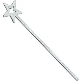 Star Wand. White Glitter (Fairy Tales , Christmas Fancy Dress)
