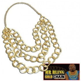Mr Bling Gold Chain (1980S , 1970S Fancy Dress Jewellery)