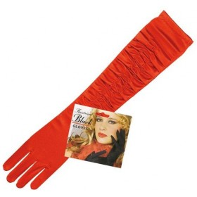 Gloves. Red Satin Theatrical (1920S , Burlesque Fancy Dress Gloves)
