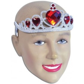 Tiara. Silver Plastic + Red Stone (Royalty , Fairy Tales Fancy Dress Hats)