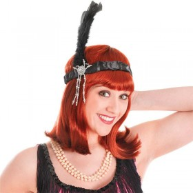 Flapper Headband & Black Feathers (1920S , Burlesque Fancy Dress)