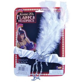 Flapper Headband & White Feathers (1920S , Burlesque Fancy Dress)