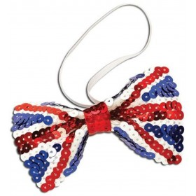 Union Jack Sequin Bow Tie (Cultures Fancy Dress)