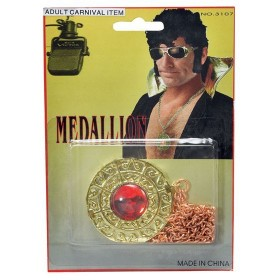 Elvis Medallion, Gold (Music , 1970S Fancy Dress Jewellery)