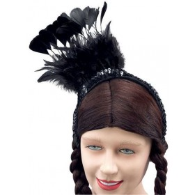 Black Feather Sequin Headpiece (1920S , Burlesque Fancy Dress Hats)