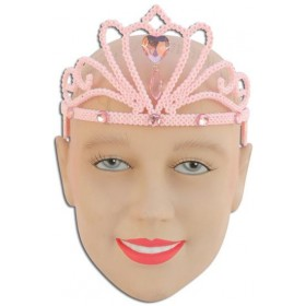 Pink Glitter Tiara & Stone (Fairy Tales , Royalty Fancy Dress Hats)