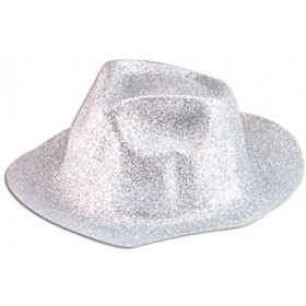 Glitter Silver Plastic Trilby (1920S Fancy Dress Hats)