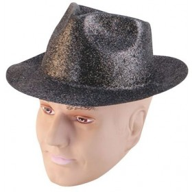 Glitter Black Plastic Trilby (1920S Fancy Dress Hats)