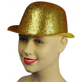 Glitter Gold Plastic Bowler (1920S Fancy Dress Hats)