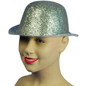 Glitter Silver Plastic Bowler (1920S Fancy Dress Hats)