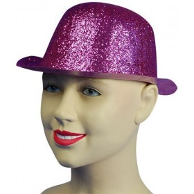 Glitter Cerise Plastic Bowler (1920S Fancy Dress Hats)