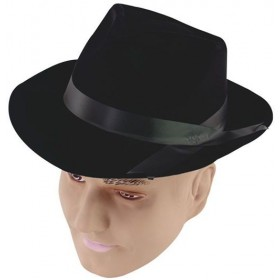 Gangster Hat. Black Flock (1920S Fancy Dress Hats)