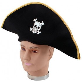 Pirate Hat. Fabric/Gold Edging (Pirates Fancy Dress Hats)