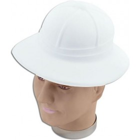 Safari/Pith Helmet.White Flock (Cultures Fancy Dress Hats)