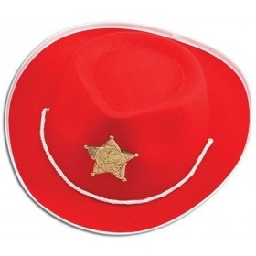 Cowboy Hat Felt.Childs Red (Cowboys/Native Americans Fancy Dress Hats)