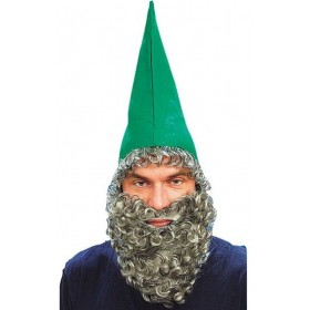 Dwarf Hat Green & Beard (Tv , Fairy Tales Fancy Dress Hats)