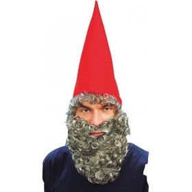 Dwarf Hat Red & Beard (Tv , Fairy Tales Fancy Dress Hats)