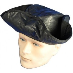 Pirate Hat Distressed Black (Pirates Fancy Dress Hats)