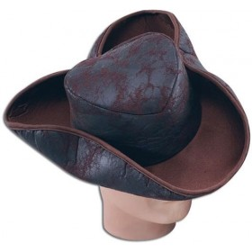 Pirate Hat. Distressed Brown (Pirates Fancy Dress Hats)