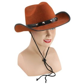 Brown Felt Cowboy Studded Hat (Cowboys/Indians Fancy Dress Hats)