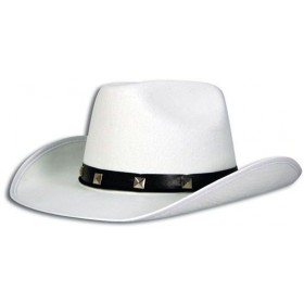 White Felt Cowboy Studded Hat (Cowboys/Indians Fancy Dress Hats)