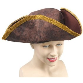 Tricorn Hat. Brown Distressed Look (Pirates Fancy Dress Hats)