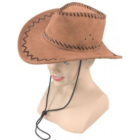 Cowboy Hat. Leather Stitched (Cowboys/Native Americans Fancy Dress Hats)