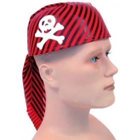 Pirate Skull Hat Red/Black (Pirates Fancy Dress Hats)