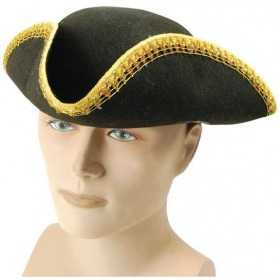Tricorn Hat + Gold Trim (Pirates Fancy Dress Hats)