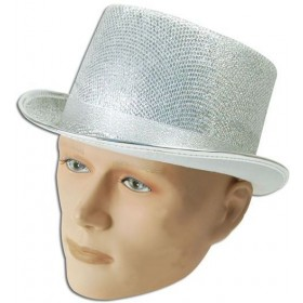 Top Hat. Silver Lurex (1920S Fancy Dress Hats)