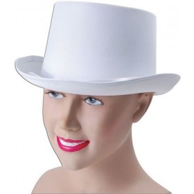 Top Hat. White, Satin Look (1920S , Old English Fancy Dress Hats)