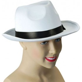 Gangster Hat. White Satin Finish (1920S Fancy Dress Hats)