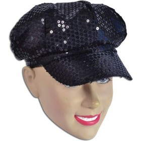Sequin Cap. 80'S Style Black (1970S Fancy Dress Hats)