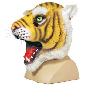 Rubber Tiger Overhead Mask (Animals Fancy Dress Masks)