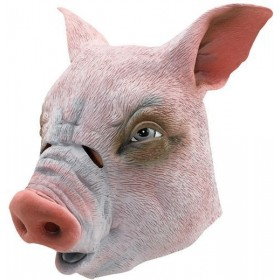 Pig Rubber Overhead Mask (Animals Fancy Dress Masks)