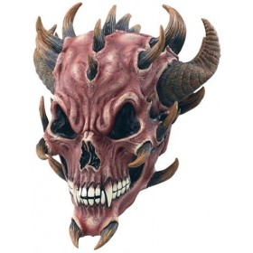 Red Devil Skull Rubber Mask (Halloween Masks)